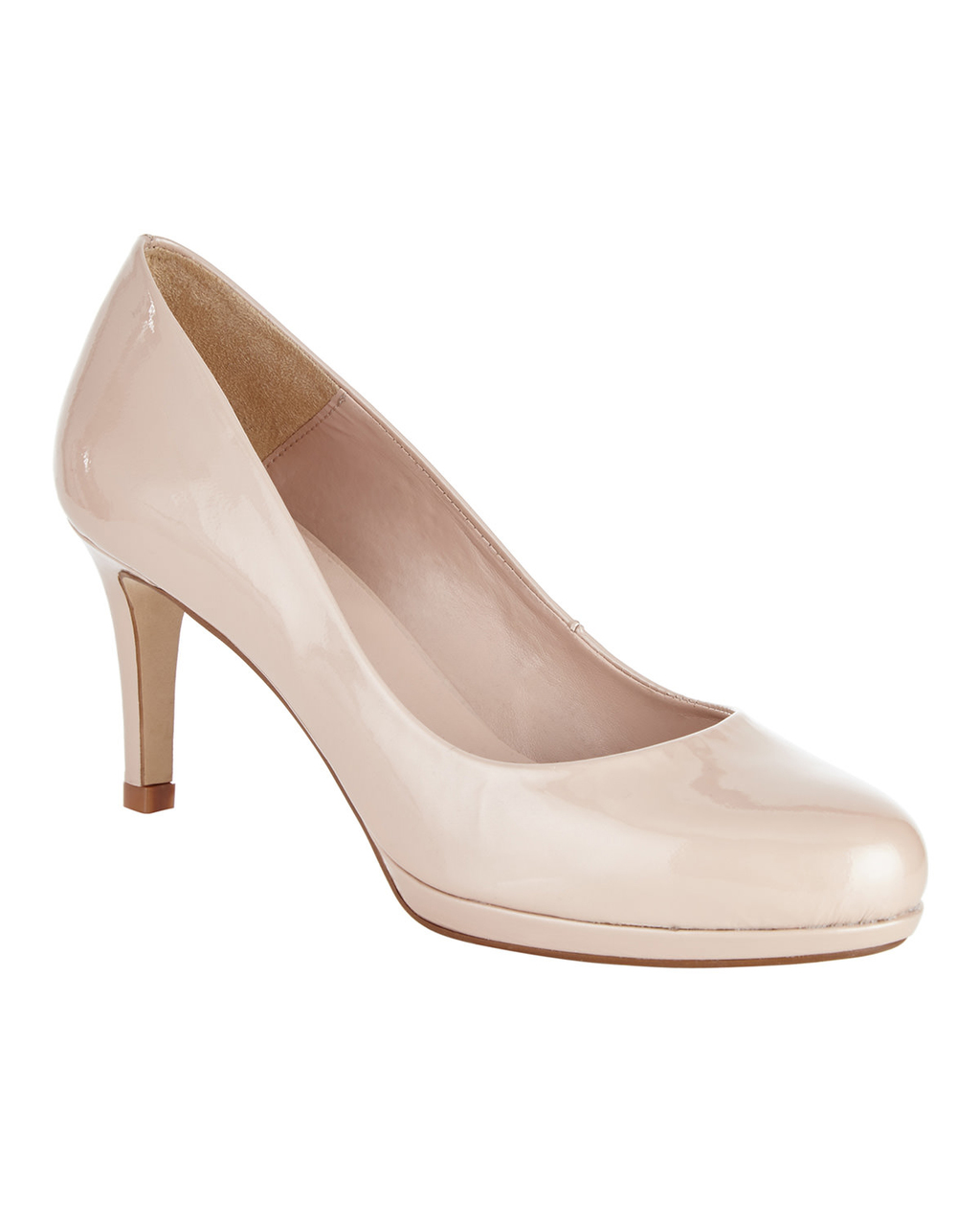 Amara Leather Court - predominant colour: blush; occasions: evening, work, occasion; material: leather; heel height: mid; heel: stiletto; toe: round toe; style: courts; finish: plain; pattern: plain; season: s/s 2016; wardrobe: investment