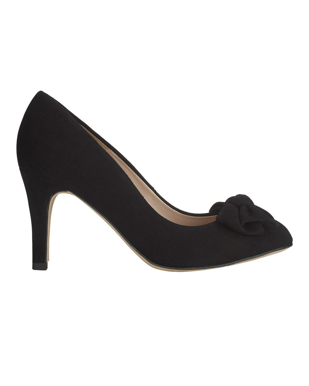 Amber Suede Bow Court - predominant colour: black; occasions: work, creative work; material: suede; heel height: high; heel: stiletto; toe: pointed toe; style: courts; finish: plain; pattern: plain; embellishment: bow; season: s/s 2016