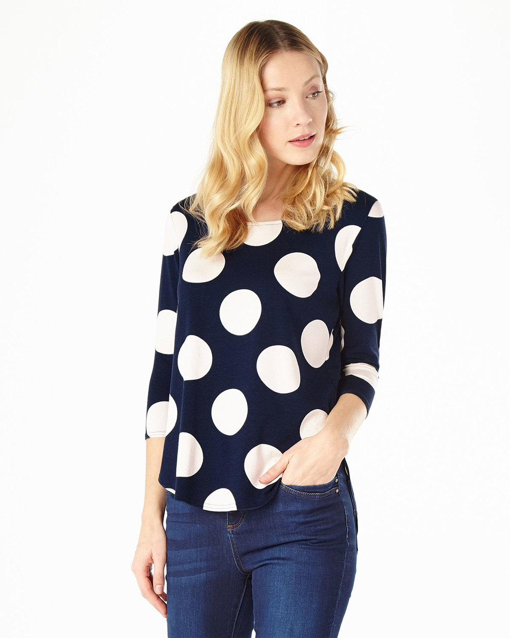 Anna Spot Top - neckline: round neck; pattern: polka dot; secondary colour: white; predominant colour: navy; occasions: casual, creative work; length: standard; style: top; fibres: viscose/rayon - stretch; fit: body skimming; sleeve length: 3/4 length; sleeve style: standard; pattern type: fabric; texture group: jersey - stretchy/drapey; pattern size: big & busy (top); season: s/s 2016; wardrobe: highlight
