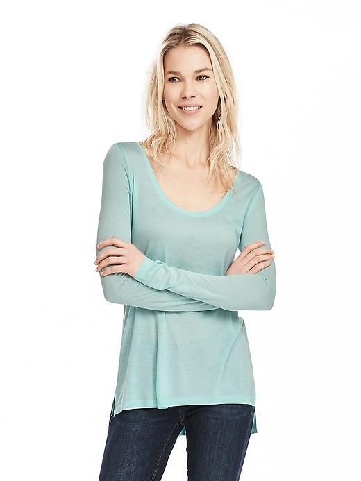 Modal Scoop Neck Tee Soft Turquoise - pattern: plain; predominant colour: pistachio; occasions: casual; length: standard; style: top; neckline: scoop; fibres: viscose/rayon - 100%; fit: body skimming; sleeve length: long sleeve; sleeve style: standard; pattern type: fabric; texture group: jersey - stretchy/drapey; season: s/s 2016; wardrobe: highlight