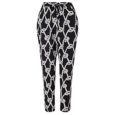 Rope Print Trousers, Black/White - length: standard; waist: high rise; secondary colour: white; predominant colour: black; occasions: casual, creative work; fibres: viscose/rayon - 100%; trends: monochrome; fit: tapered; pattern type: fabric; pattern: patterned/print; texture group: woven light midweight; style: standard; season: s/s 2016; wardrobe: highlight