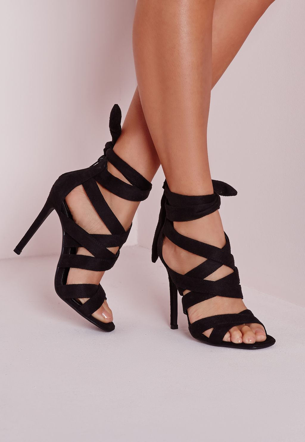 Lace Up Gladiator Heels Black, Black - predominant colour: black; occasions: evening, occasion; material: suede; ankle detail: ankle strap; heel: stiletto; toe: open toe/peeptoe; style: strappy; finish: plain; pattern: plain; heel height: very high; season: s/s 2016; wardrobe: event