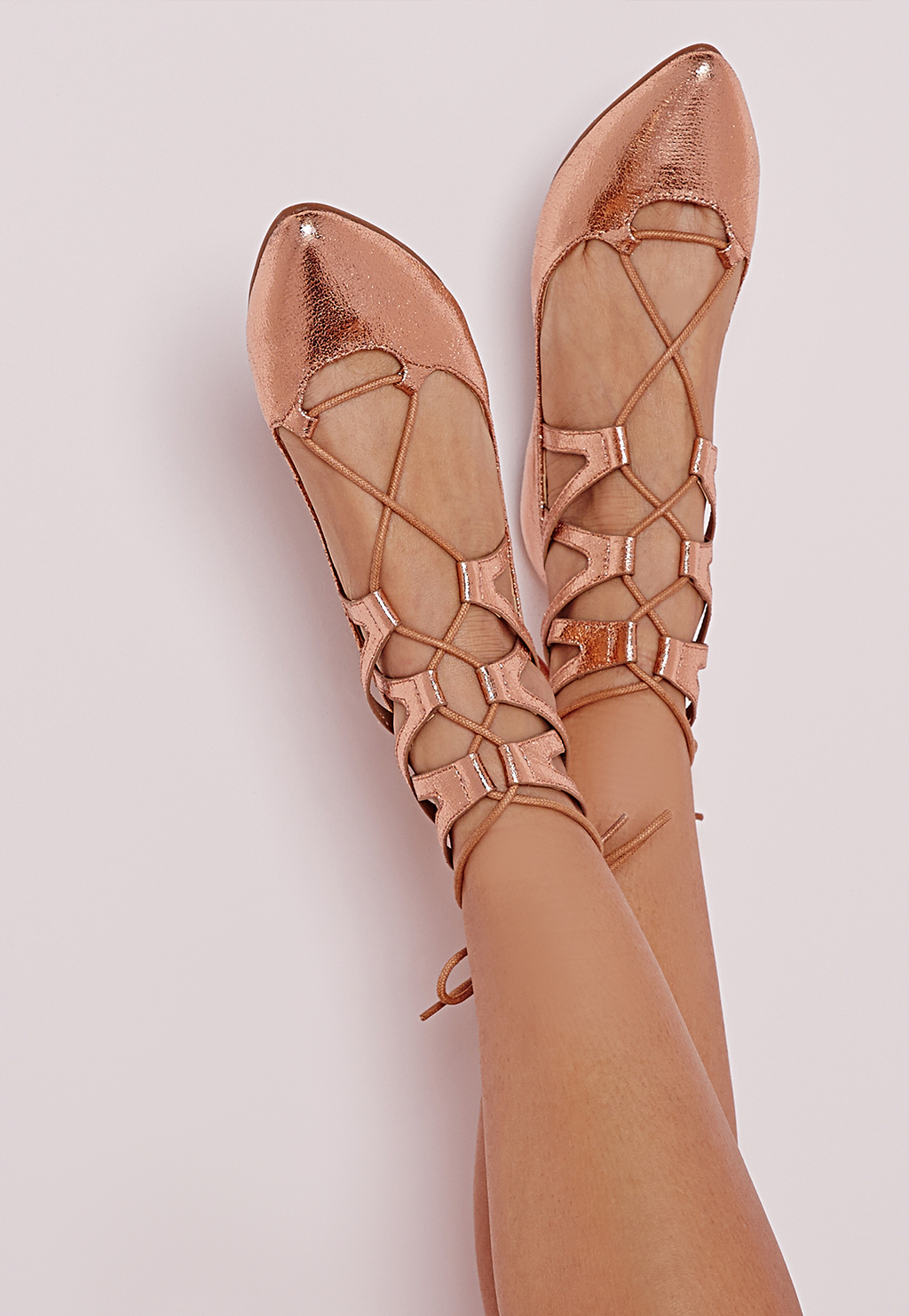 Lace Up Pumps Rose Gold, Red - predominant colour: gold; occasions: casual, creative work; material: faux leather; heel height: flat; ankle detail: ankle tie; toe: pointed toe; style: ballerinas / pumps; finish: patent; pattern: plain; season: s/s 2016