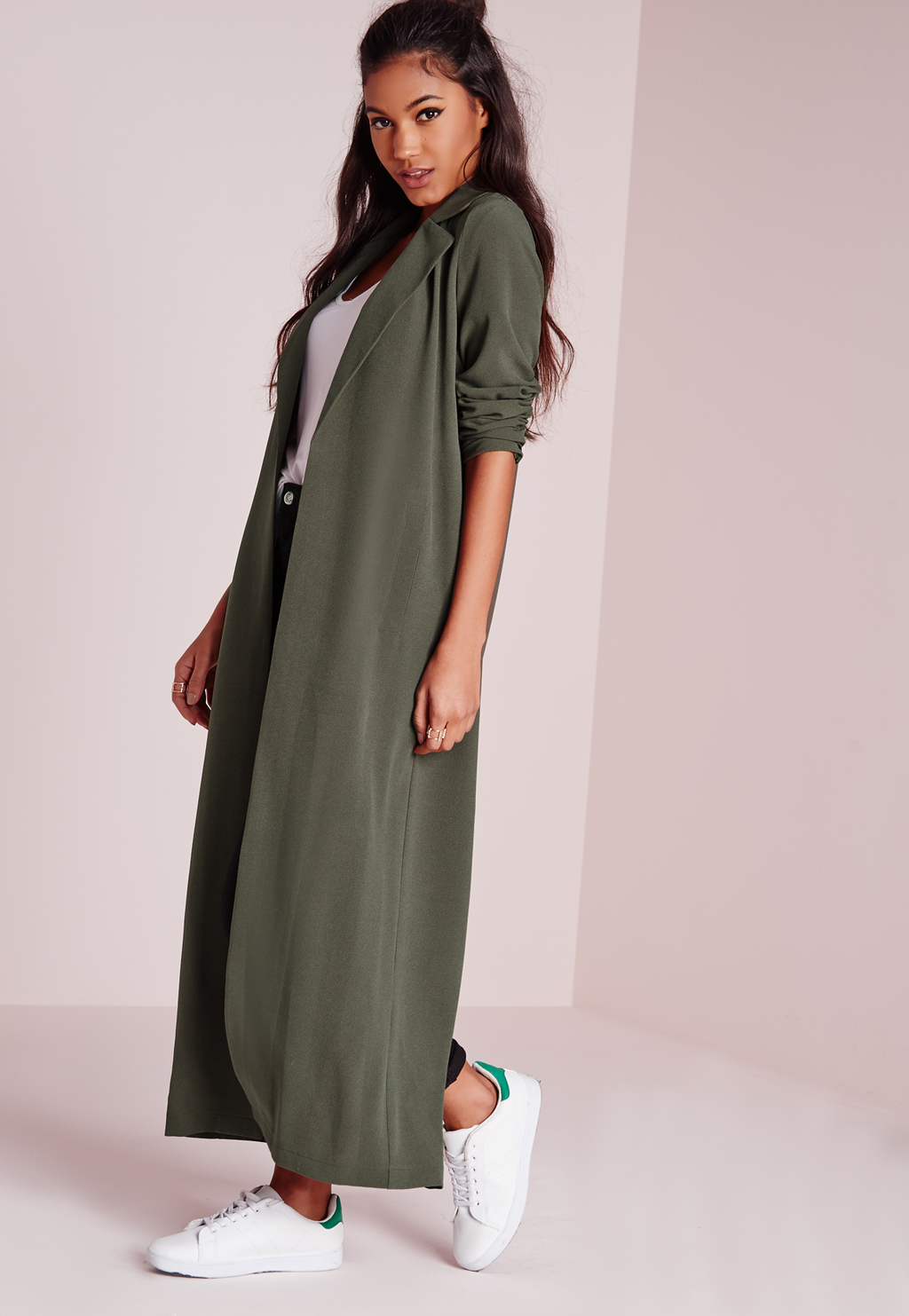 Long Sleeve Maxi Duster Coat Khaki, Beige - pattern: plain; style: duffle coat; collar: standard lapel/rever collar; predominant colour: khaki; secondary colour: khaki; occasions: casual, creative work; length: ankle length; fit: straight cut (boxy); fibres: polyester/polyamide - 100%; sleeve length: long sleeve; sleeve style: standard; collar break: low/open; pattern type: fabric; texture group: woven light midweight; season: s/s 2016; wardrobe: basic