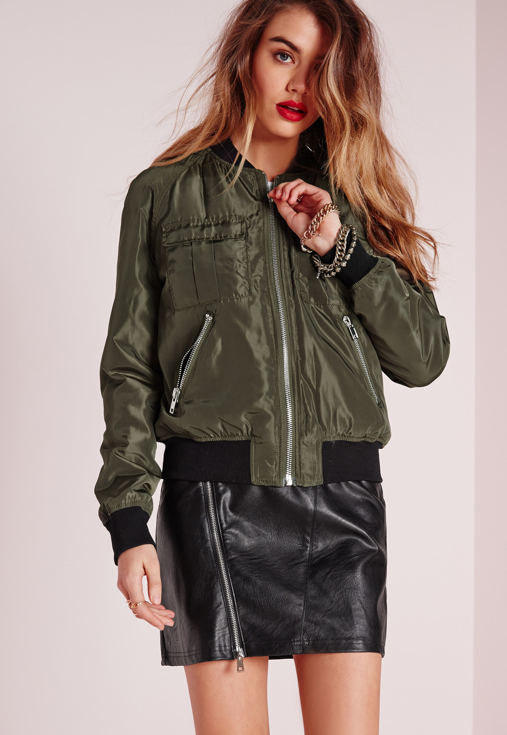 Utility Bomber Jacket Khaki, Beige - collar: round collar/collarless; style: bomber; predominant colour: khaki; secondary colour: black; occasions: casual; length: standard; fit: straight cut (boxy); fibres: polyester/polyamide - 100%; sleeve length: long sleeve; sleeve style: standard; collar break: high; pattern type: fabric; pattern size: standard; pattern: colourblock; texture group: other - bulky/heavy; season: s/s 2016