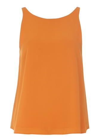 Womens Orange V Back Sleeveless Top Orange - pattern: plain; sleeve style: sleeveless; predominant colour: bright orange; occasions: casual, creative work; length: standard; style: top; neckline: scoop; fibres: polyester/polyamide - 100%; fit: loose; sleeve length: sleeveless; pattern type: fabric; texture group: other - light to midweight; season: s/s 2016; wardrobe: highlight