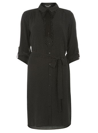Womens **Tall Monochrome Spotted Tie Neck Dress Black - style: shirt; neckline: shirt collar/peter pan/zip with opening; pattern: plain; waist detail: belted waist/tie at waist/drawstring; predominant colour: black; occasions: casual, creative work; length: on the knee; fit: body skimming; fibres: viscose/rayon - 100%; sleeve length: 3/4 length; sleeve style: standard; pattern type: fabric; texture group: other - light to midweight; season: s/s 2016; wardrobe: basic
