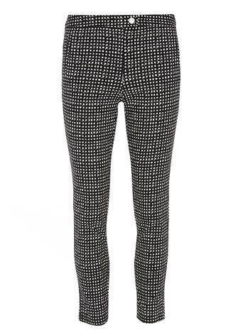 Womens Gingham Skinny Trousers Unspecified - waist: mid/regular rise; secondary colour: white; predominant colour: black; occasions: casual, creative work; length: ankle length; fibres: polyester/polyamide - stretch; fit: straight leg; pattern type: fabric; pattern: patterned/print; texture group: other - light to midweight; style: standard; pattern size: standard (bottom); season: s/s 2016; wardrobe: highlight