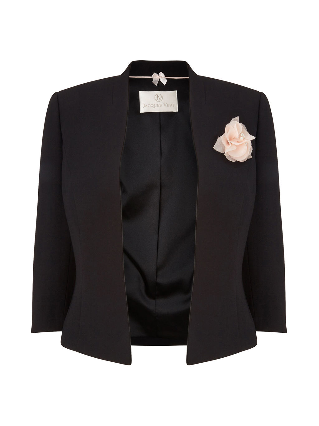 Crepe Corsage Jacket, Black - pattern: plain; style: cropped; collar: round collar/collarless; secondary colour: blush; predominant colour: black; fit: tailored/fitted; fibres: polyester/polyamide - 100%; occasions: occasion; sleeve length: half sleeve; sleeve style: standard; collar break: low/open; pattern type: fabric; texture group: woven light midweight; embellishment: corsage; length: cropped; season: s/s 2016; wardrobe: event