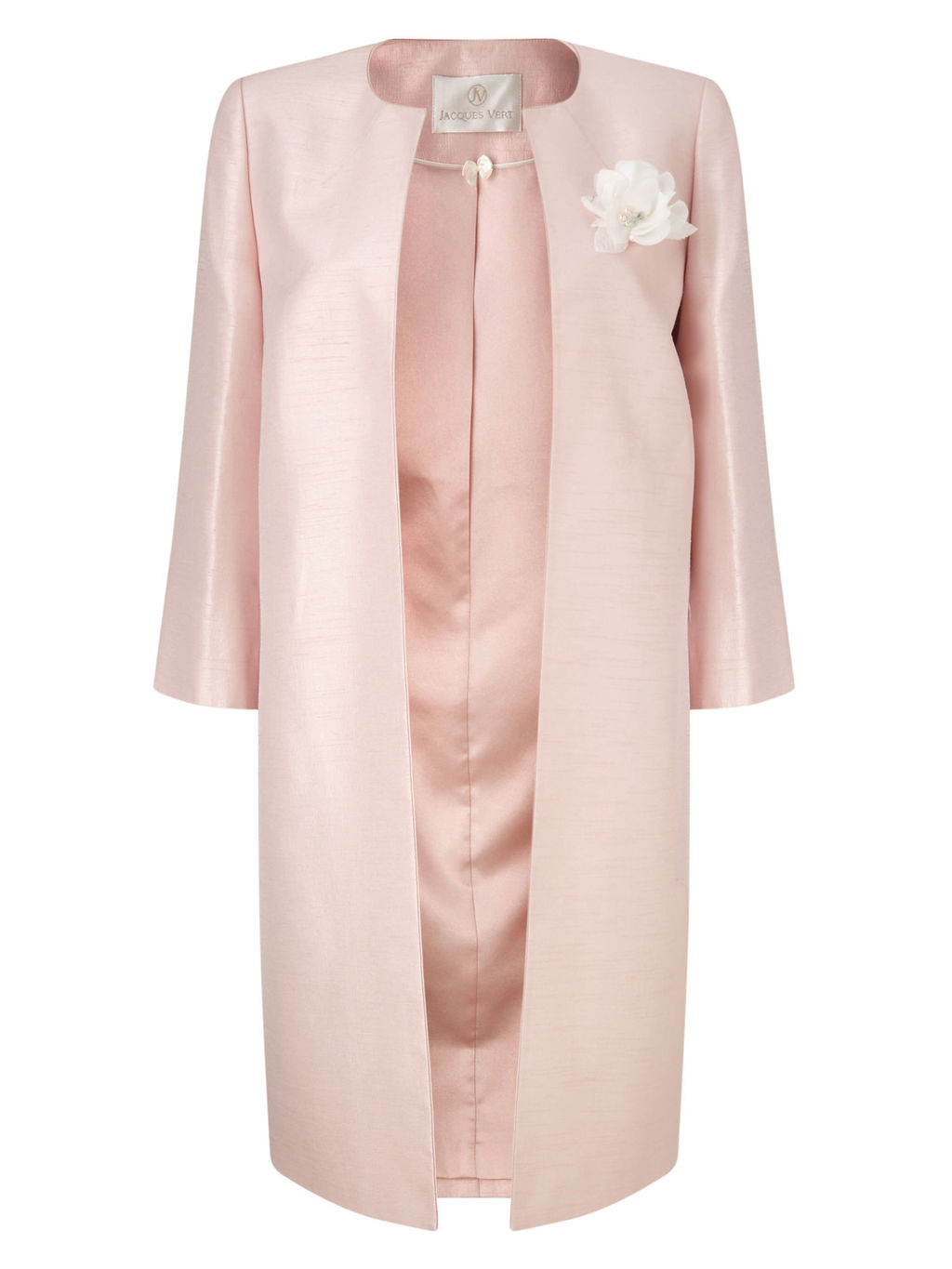 Long Occasion Coat, Blossom Pink - pattern: plain; collar: round collar/collarless; style: single breasted; length: mid thigh; predominant colour: blush; occasions: evening, occasion; fit: straight cut (boxy); fibres: polyester/polyamide - 100%; sleeve length: long sleeve; sleeve style: standard; texture group: structured shiny - satin/tafetta/silk etc.; collar break: high/illusion of break when open; pattern type: fabric; embellishment: corsage; season: s/s 2016; wardrobe: event
