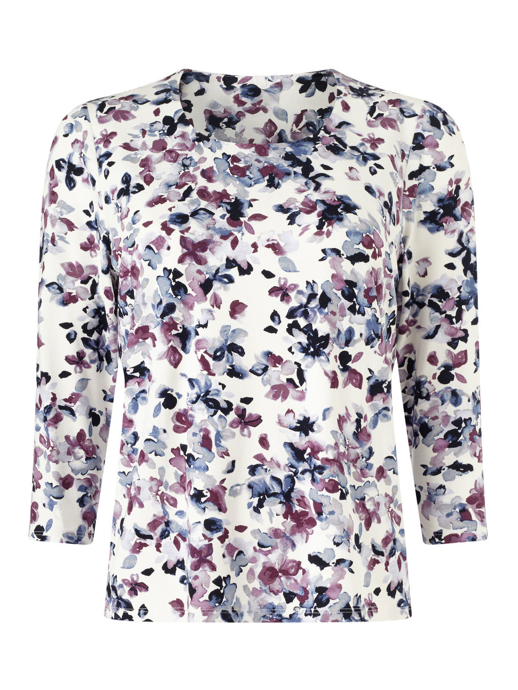 Mini Watercolour Floral Top - neckline: round neck; predominant colour: ivory/cream; secondary colour: purple; occasions: casual, creative work; length: standard; style: top; fibres: viscose/rayon - stretch; fit: body skimming; sleeve length: 3/4 length; sleeve style: standard; pattern type: fabric; pattern size: standard; pattern: florals; texture group: jersey - stretchy/drapey; multicoloured: multicoloured; season: s/s 2016; wardrobe: highlight