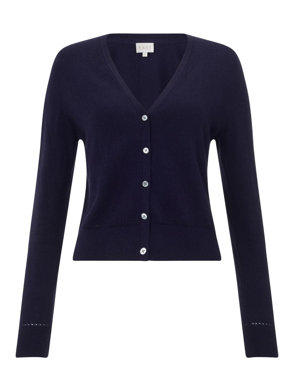 Cropped V Neck Cardigan, Ink - neckline: v-neck; pattern: plain; predominant colour: navy; occasions: casual, work, creative work; length: standard; style: standard; fibres: cotton - 100%; fit: standard fit; sleeve length: long sleeve; sleeve style: standard; texture group: knits/crochet; pattern type: knitted - fine stitch; season: s/s 2016; wardrobe: basic