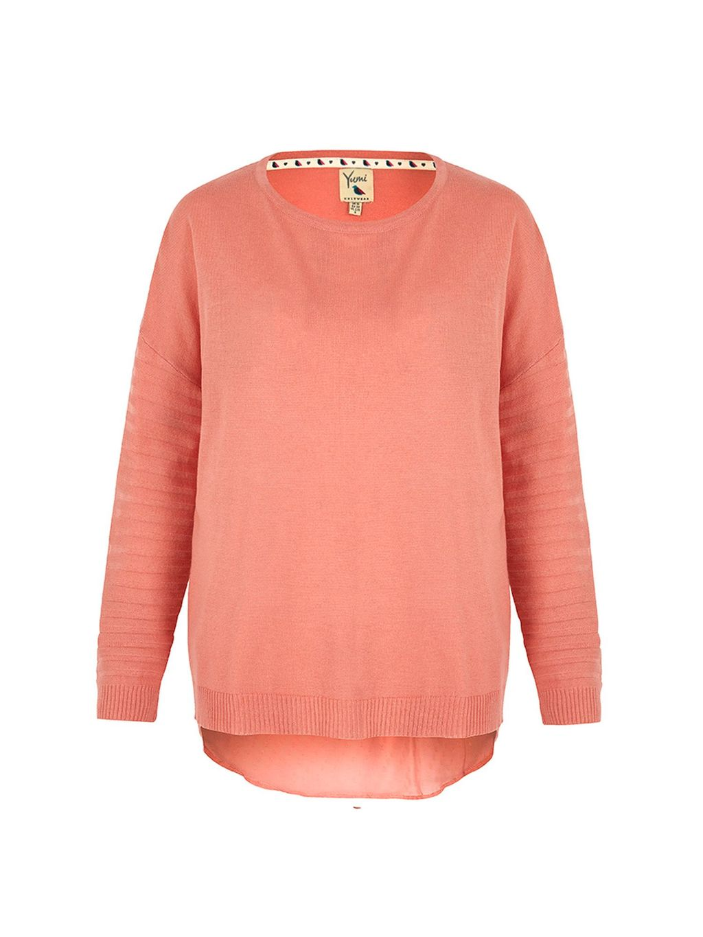 Sheer Back Jumper, Pink - neckline: round neck; pattern: plain; style: standard; predominant colour: pink; occasions: casual, creative work; length: standard; fibres: polyester/polyamide - mix; fit: standard fit; back detail: longer hem at back than at front; sleeve length: long sleeve; sleeve style: standard; texture group: knits/crochet; pattern type: knitted - fine stitch; season: s/s 2016; wardrobe: highlight