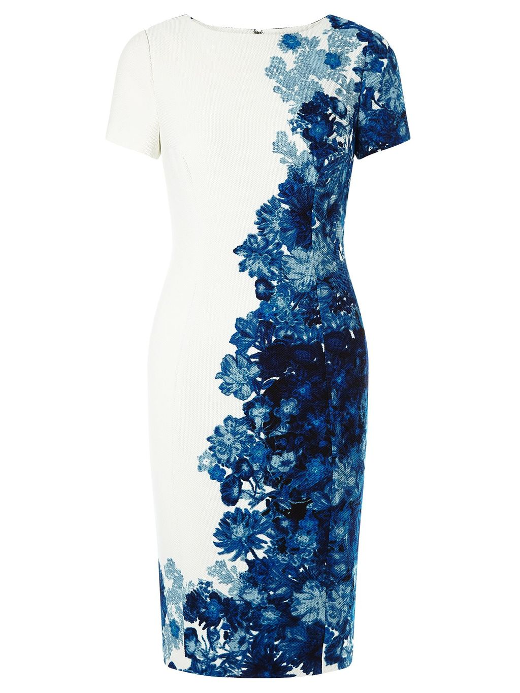 Floral Sheath Dress, Blue Multi - style: shift; fit: tailored/fitted; predominant colour: white; secondary colour: royal blue; length: just above the knee; fibres: polyester/polyamide - stretch; occasions: occasion, creative work; neckline: crew; sleeve length: short sleeve; sleeve style: standard; pattern type: fabric; pattern size: big & busy; pattern: florals; texture group: woven light midweight; season: s/s 2016; wardrobe: highlight