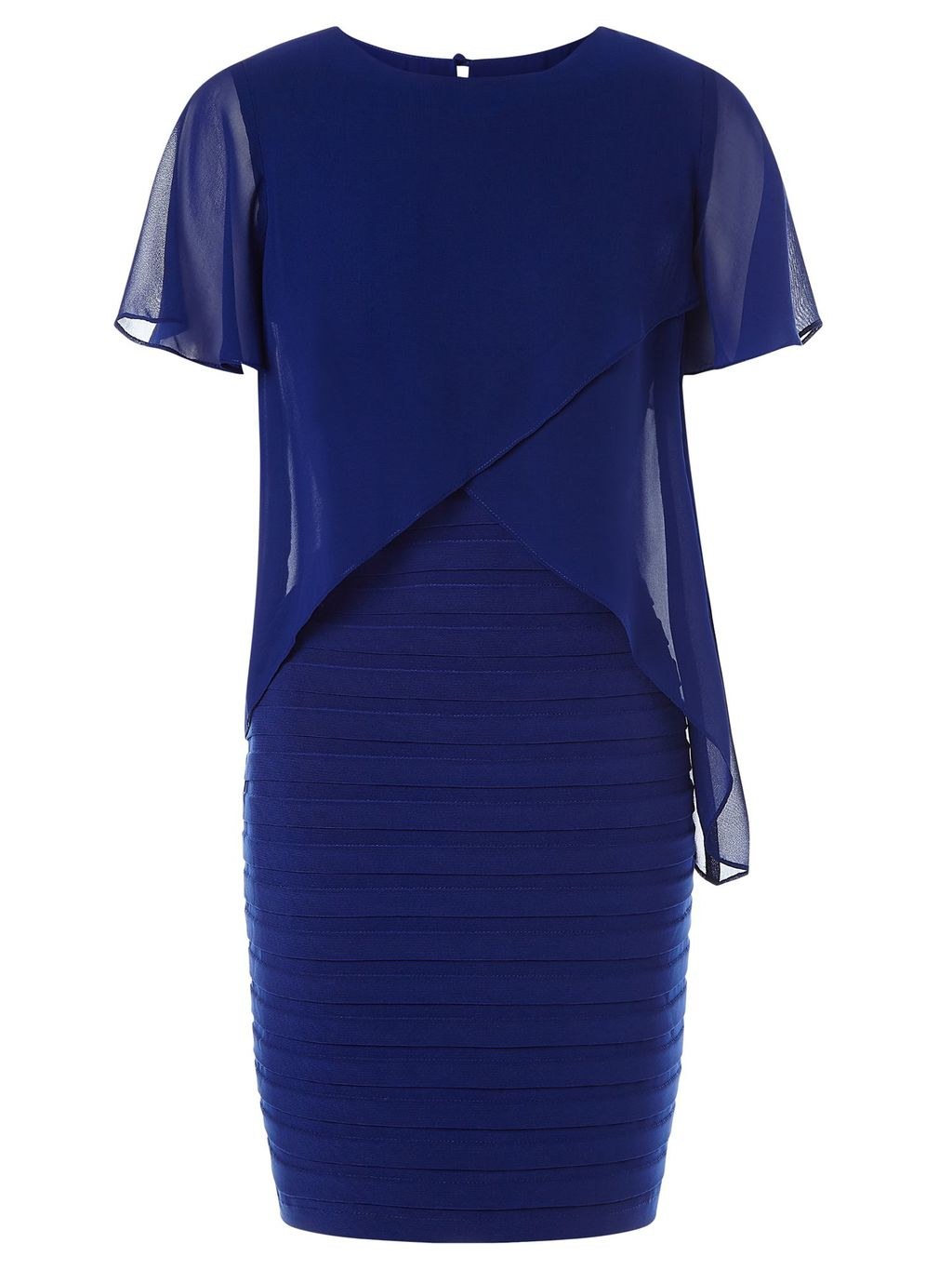 Short Sleeve Layer Bandeau Dress, Blue - style: shift; length: mini; fit: tailored/fitted; pattern: plain; predominant colour: royal blue; occasions: evening, occasion; fibres: polyester/polyamide - stretch; neckline: crew; hip detail: adds bulk at the hips; sleeve length: short sleeve; sleeve style: standard; pattern type: fabric; texture group: other - light to midweight; shoulder detail: sheer at shoulder; season: s/s 2016; wardrobe: event