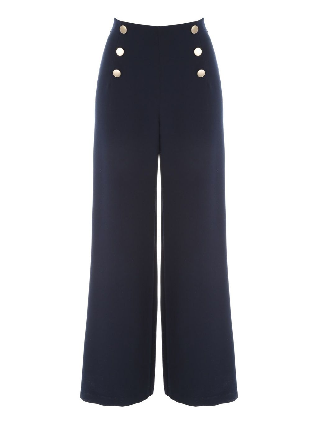 Sailor Button Trouser, Navy - length: standard; pattern: plain; waist: high rise; predominant colour: navy; occasions: work, creative work; fibres: polyester/polyamide - stretch; texture group: crepes; fit: wide leg; pattern type: fabric; style: standard; season: s/s 2016; wardrobe: highlight; embellishment location: waist