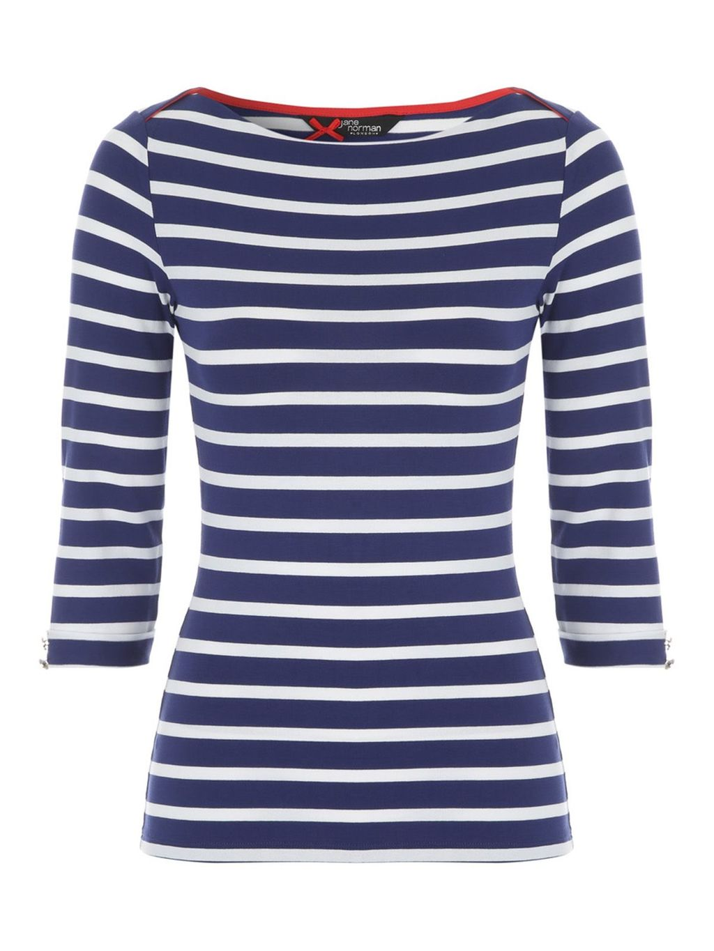3/4length Boat Neck Top, Multi Coloured - neckline: slash/boat neckline; pattern: horizontal stripes; style: t-shirt; secondary colour: white; predominant colour: navy; occasions: casual; length: standard; fibres: cotton - stretch; fit: body skimming; sleeve length: 3/4 length; sleeve style: standard; texture group: jersey - clingy; pattern type: fabric; pattern size: standard; season: s/s 2016; wardrobe: basic