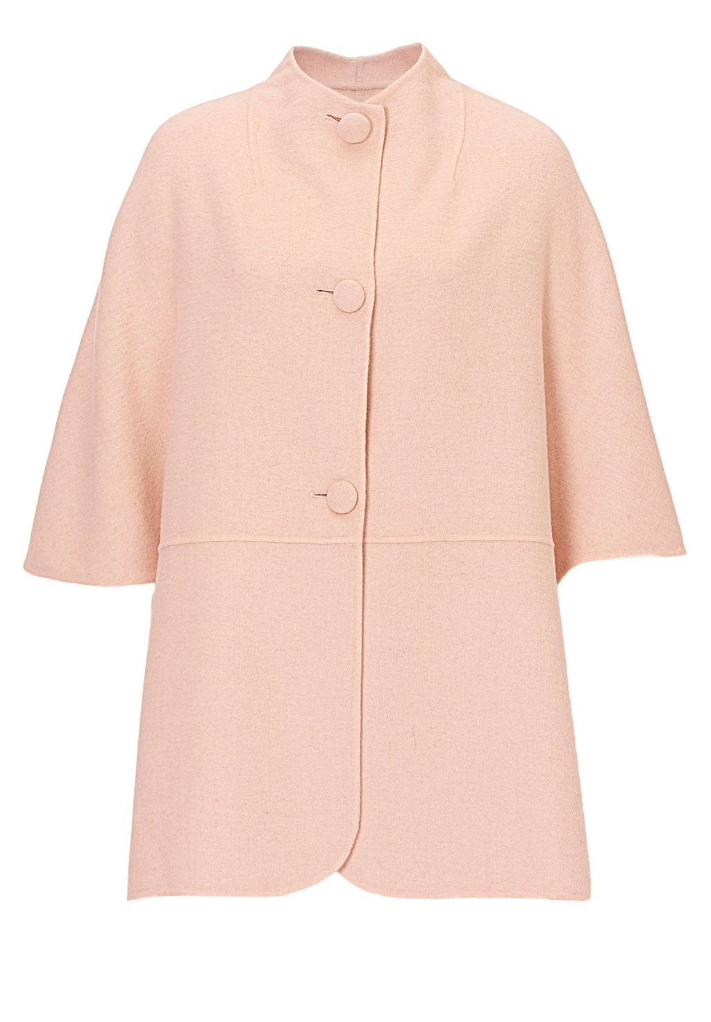 Unlined Wool Cape, Pink - pattern: plain; length: below the bottom; style: single breasted; collar: high neck; predominant colour: pink; occasions: casual, work, creative work; fit: straight cut (boxy); fibres: wool - 100%; sleeve length: 3/4 length; sleeve style: standard; collar break: high; pattern type: fabric; texture group: woven bulky/heavy; season: s/s 2016; wardrobe: highlight