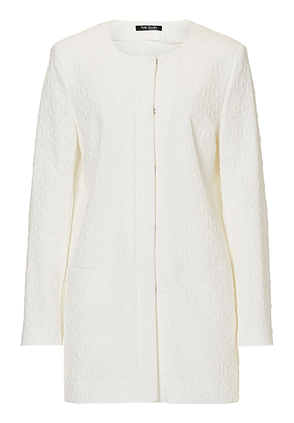 Long Textured Jacket, Off White - pattern: plain; style: single breasted blazer; collar: round collar/collarless; length: below the bottom; predominant colour: ivory/cream; occasions: casual, creative work; fit: straight cut (boxy); fibres: cotton - stretch; sleeve length: long sleeve; sleeve style: standard; collar break: high; pattern type: fabric; texture group: woven light midweight; season: s/s 2016; wardrobe: basic