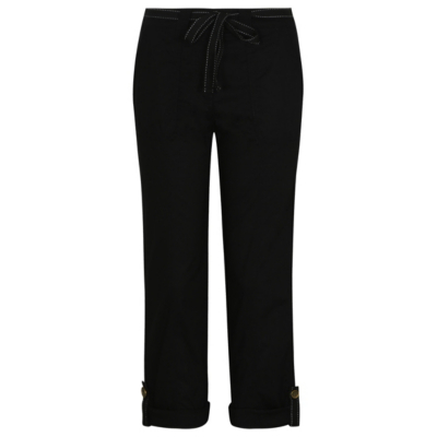 Cropped Trousers Black - pattern: plain; waist detail: belted waist/tie at waist/drawstring; waist: mid/regular rise; predominant colour: black; length: ankle length; fibres: polyester/polyamide - 100%; texture group: crepes; fit: straight leg; pattern type: fabric; style: standard; occasions: creative work; season: s/s 2016; wardrobe: basic