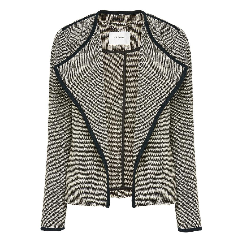 Lara Draped Tweed Jacket Grey Black Cream - style: single breasted blazer; collar: round collar/collarless; pattern: herringbone/tweed; secondary colour: light grey; predominant colour: black; occasions: casual, work, creative work; length: standard; fit: tailored/fitted; fibres: cotton - 100%; sleeve length: long sleeve; sleeve style: standard; texture group: knits/crochet; collar break: low/open; pattern type: knitted - fine stitch; pattern size: light/subtle; season: s/s 2016