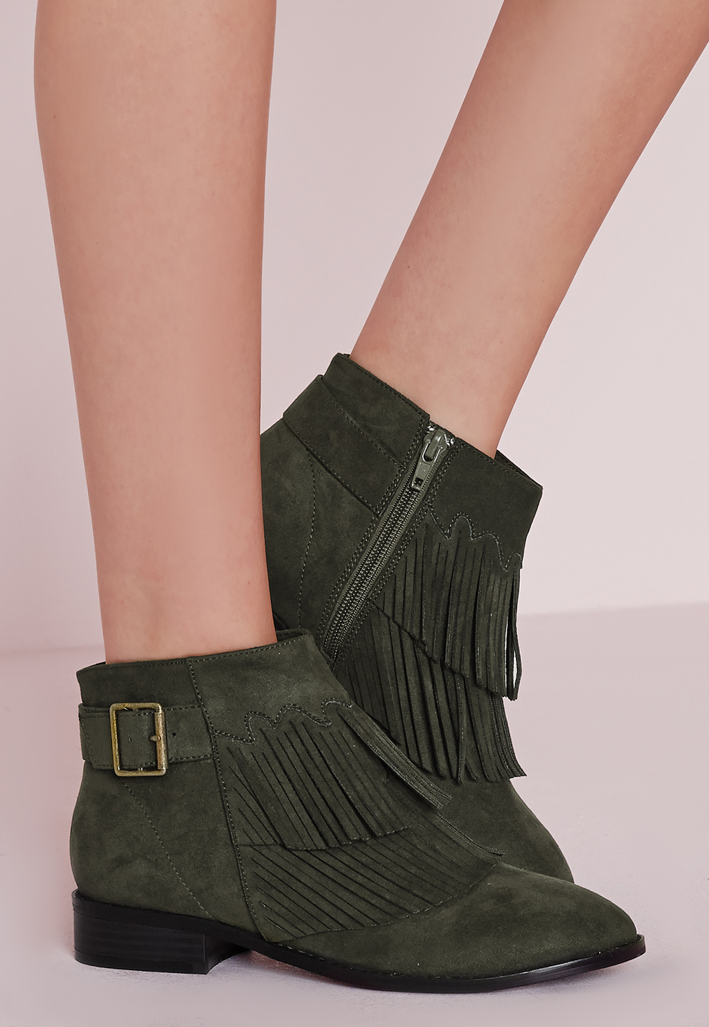 Tassel Front Ankle Boots Khaki, Beige - predominant colour: khaki; occasions: casual, creative work; material: suede; heel height: flat; embellishment: tassels; heel: standard; toe: round toe; boot length: ankle boot; style: cowboy; finish: plain; pattern: plain; season: s/s 2016; wardrobe: basic