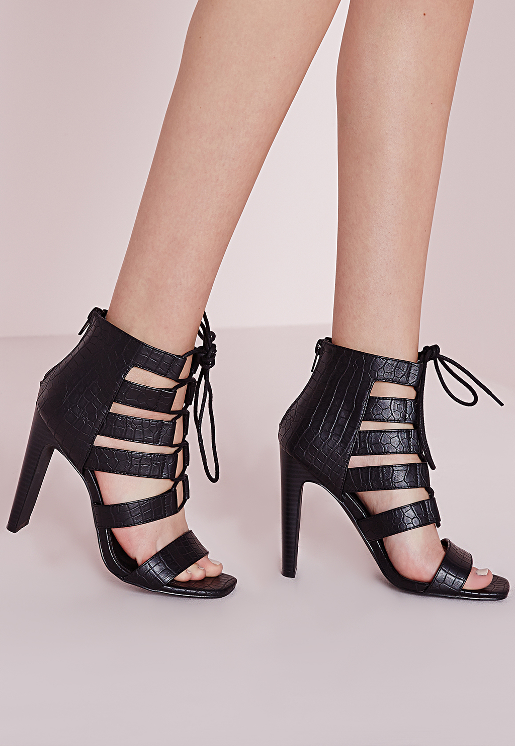Reptile Lace Up Heeled Sandals Black, Black - predominant colour: black; occasions: evening, occasion; material: faux leather; heel height: high; ankle detail: ankle tie; heel: stiletto; toe: open toe/peeptoe; style: strappy; finish: plain; pattern: plain; season: s/s 2016; wardrobe: event