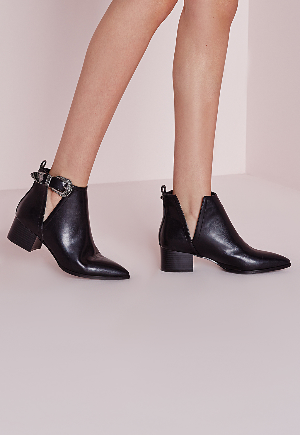 Pointed Toe Ankle Boots Black, Black - predominant colour: black; occasions: casual, creative work; material: leather; heel height: mid; embellishment: buckles; heel: block; toe: round toe; boot length: ankle boot; style: standard; finish: plain; pattern: plain; season: s/s 2016; wardrobe: basic
