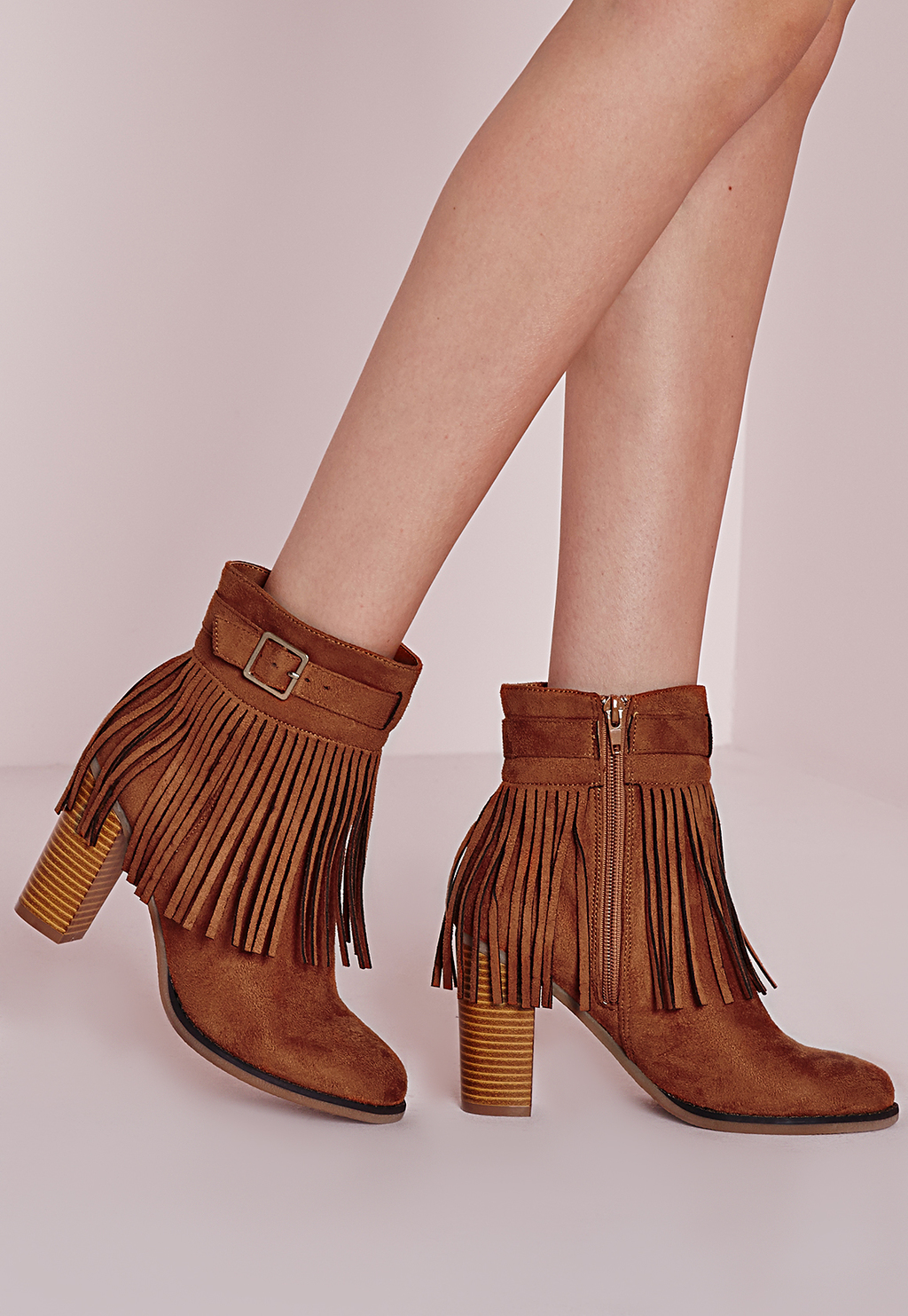 Fringed Trim Heeled Ankle Boots Tan, Brown - predominant colour: tan; occasions: casual; heel height: high; heel: block; toe: round toe; boot length: ankle boot; style: standard; finish: plain; pattern: plain; embellishment: fringing; material: faux suede; season: s/s 2016