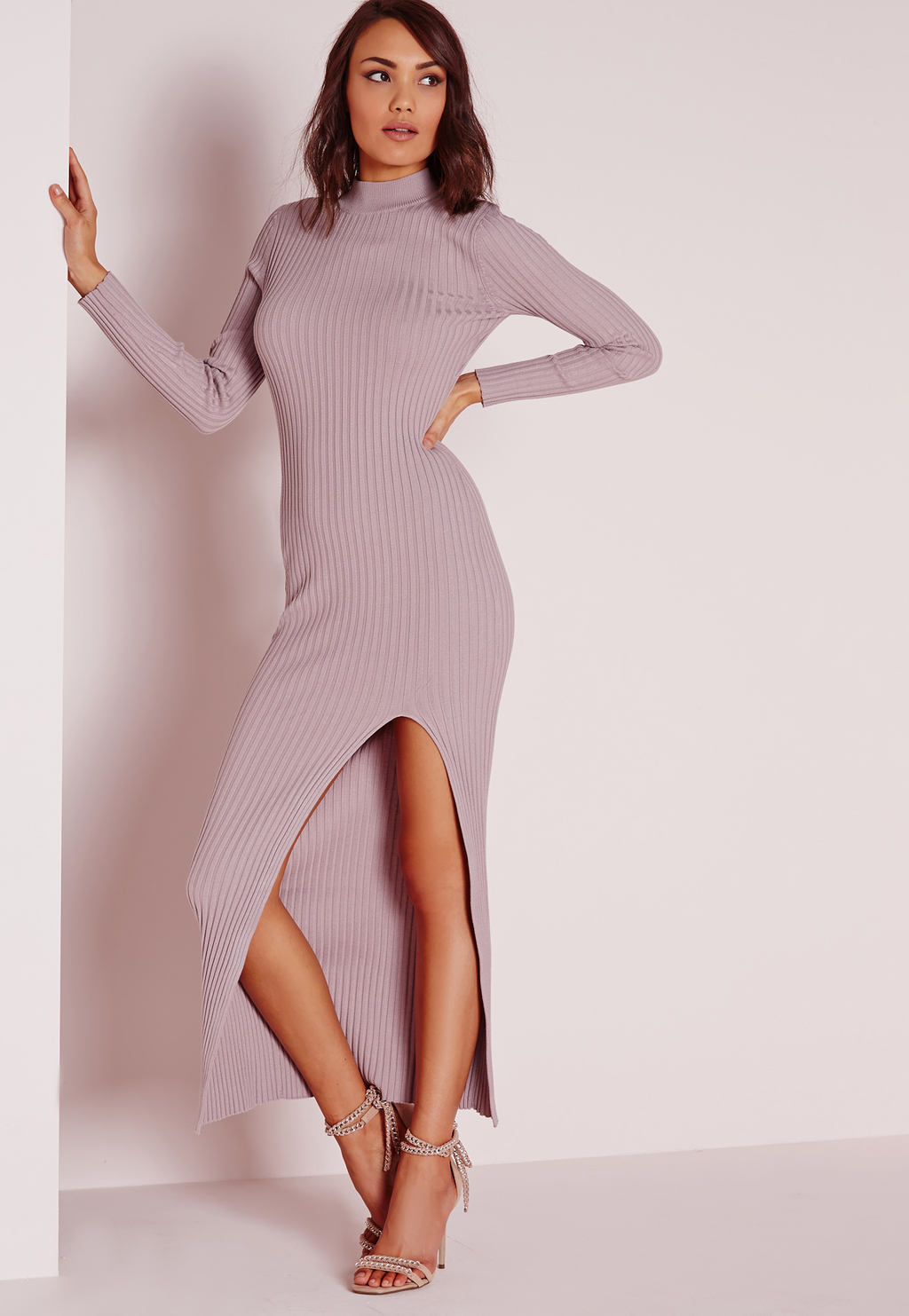 Thigh Split Maxi Jumper Dress Mauve, Mauve - fit: tight; pattern: plain; neckline: high neck; style: bodycon; length: ankle length; hip detail: draws attention to hips; predominant colour: lilac; occasions: evening; fibres: viscose/rayon - 100%; sleeve length: long sleeve; sleeve style: standard; texture group: jersey - clingy; pattern type: fabric; season: s/s 2016; wardrobe: event