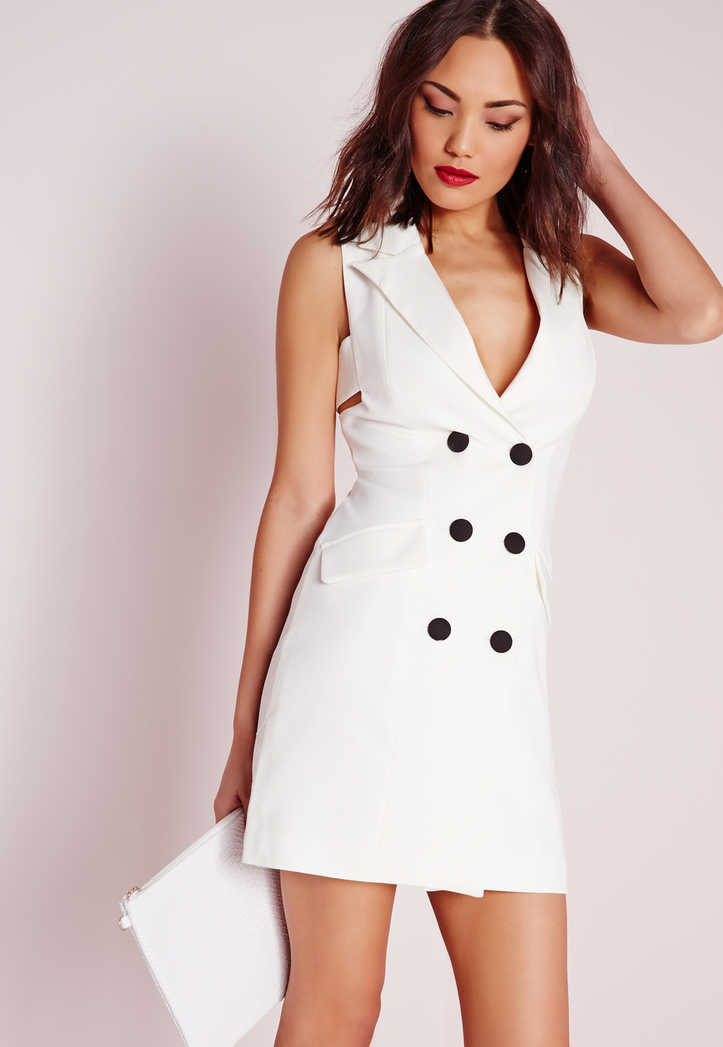 Crepe Sleeveless Blazer Dress White, White - style: shift; length: mini; neckline: low v-neck; fit: tailored/fitted; pattern: plain; sleeve style: sleeveless; predominant colour: white; occasions: evening; fibres: polyester/polyamide - 100%; hip detail: subtle/flattering hip detail; sleeve length: sleeveless; trends: monochrome; texture group: crepes; pattern type: fabric; season: s/s 2016; wardrobe: event