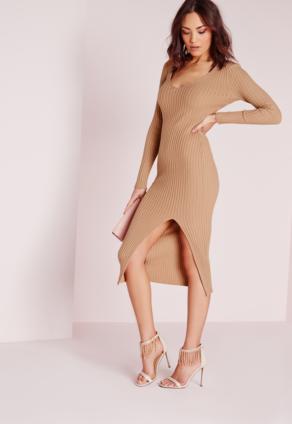 Long Sleeve Thigh Split Knitted Dress Camel, Beige - length: below the knee; fit: tight; pattern: plain; style: bodycon; hip detail: draws attention to hips; predominant colour: camel; occasions: evening; neckline: scoop; fibres: polyester/polyamide - stretch; sleeve length: long sleeve; sleeve style: standard; texture group: knits/crochet; pattern type: knitted - other; season: s/s 2016; wardrobe: event
