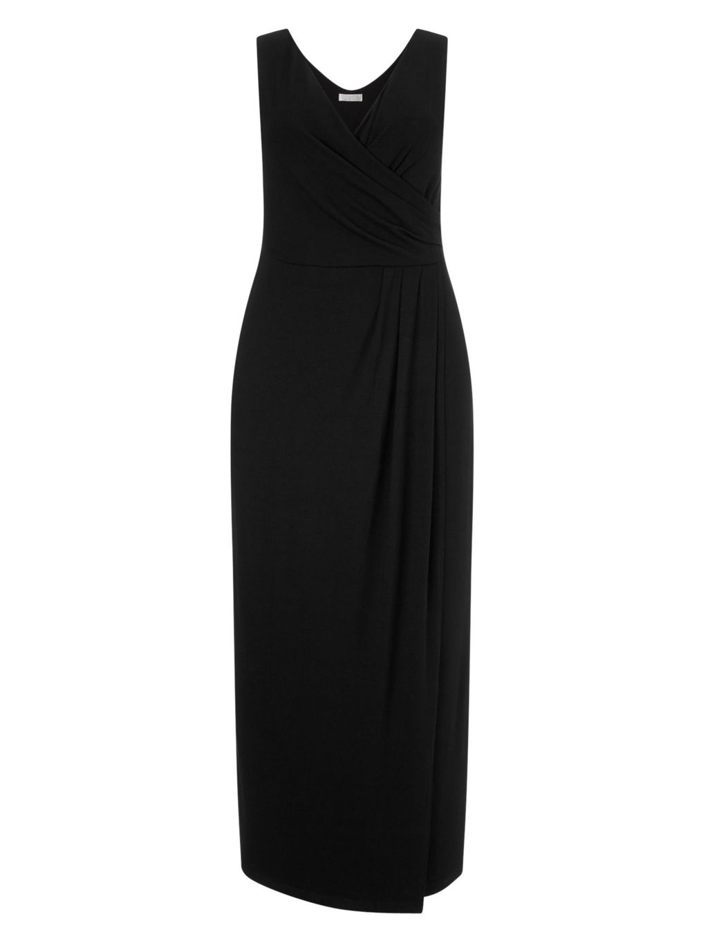 Black Jersey Maxi Dress - neckline: v-neck; pattern: plain; sleeve style: sleeveless; style: maxi dress; length: ankle length; bust detail: subtle bust detail; predominant colour: black; occasions: casual; fit: body skimming; fibres: viscose/rayon - stretch; sleeve length: sleeveless; pattern type: fabric; texture group: jersey - stretchy/drapey; season: s/s 2016; wardrobe: basic