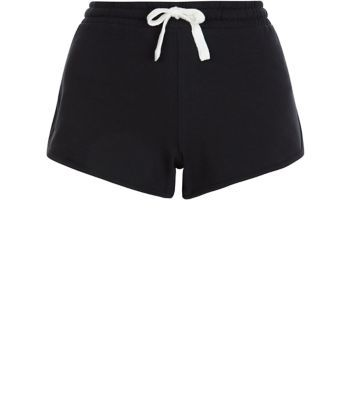 Black Runner Shorts - pattern: plain; waist detail: belted waist/tie at waist/drawstring; waist: mid/regular rise; predominant colour: black; secondary colour: black; occasions: casual; fibres: cotton - 100%; pattern type: fabric; texture group: jersey - stretchy/drapey; season: s/s 2016; wardrobe: basic; style: shorts; length: short shorts; fit: slim leg
