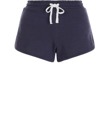 Navy Runner Shorts - pattern: plain; waist detail: belted waist/tie at waist/drawstring; waist: mid/regular rise; predominant colour: navy; occasions: casual; fibres: cotton - stretch; pattern type: fabric; texture group: jersey - stretchy/drapey; season: s/s 2016; wardrobe: basic; style: shorts; length: short shorts; fit: slim leg