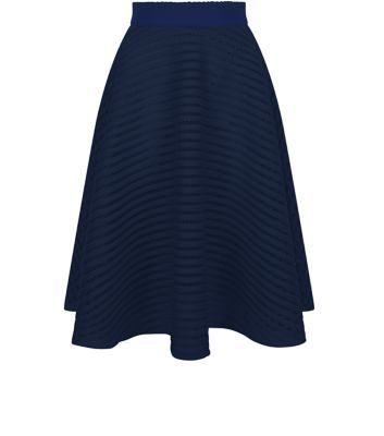 Navy Mesh Stripe Midi Skirt - length: below the knee; pattern: plain; style: full/prom skirt; fit: loose/voluminous; waist: high rise; predominant colour: navy; fibres: polyester/polyamide - 100%; hip detail: soft pleats at hip/draping at hip/flared at hip; waist detail: narrow waistband; pattern type: fabric; texture group: other - light to midweight; occasions: creative work; season: s/s 2016