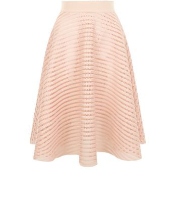 Shell Pink Mesh Stripe Midi Skirt - length: calf length; pattern: plain; style: full/prom skirt; fit: loose/voluminous; waist: high rise; predominant colour: nude; fibres: polyester/polyamide - 100%; occasions: occasion; hip detail: soft pleats at hip/draping at hip/flared at hip; waist detail: narrow waistband; texture group: lace; pattern type: fabric; season: s/s 2016; wardrobe: event