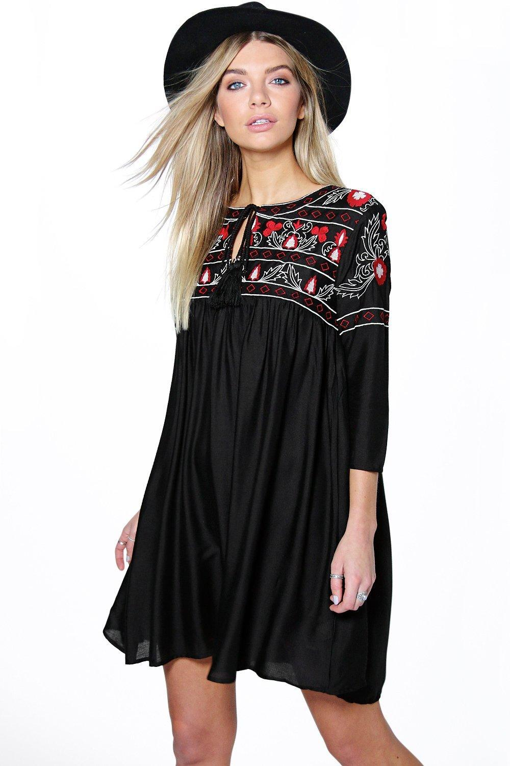 Abby Heavy Embroidered Smock Dress Black - style: smock; fit: loose; predominant colour: burgundy; occasions: casual; length: just above the knee; neckline: peep hole neckline; sleeve length: 3/4 length; sleeve style: standard; pattern type: fabric; pattern size: standard; pattern: patterned/print; texture group: jersey - stretchy/drapey; embellishment: embroidered; fibres: viscose/rayon - mix; season: s/s 2016; wardrobe: highlight