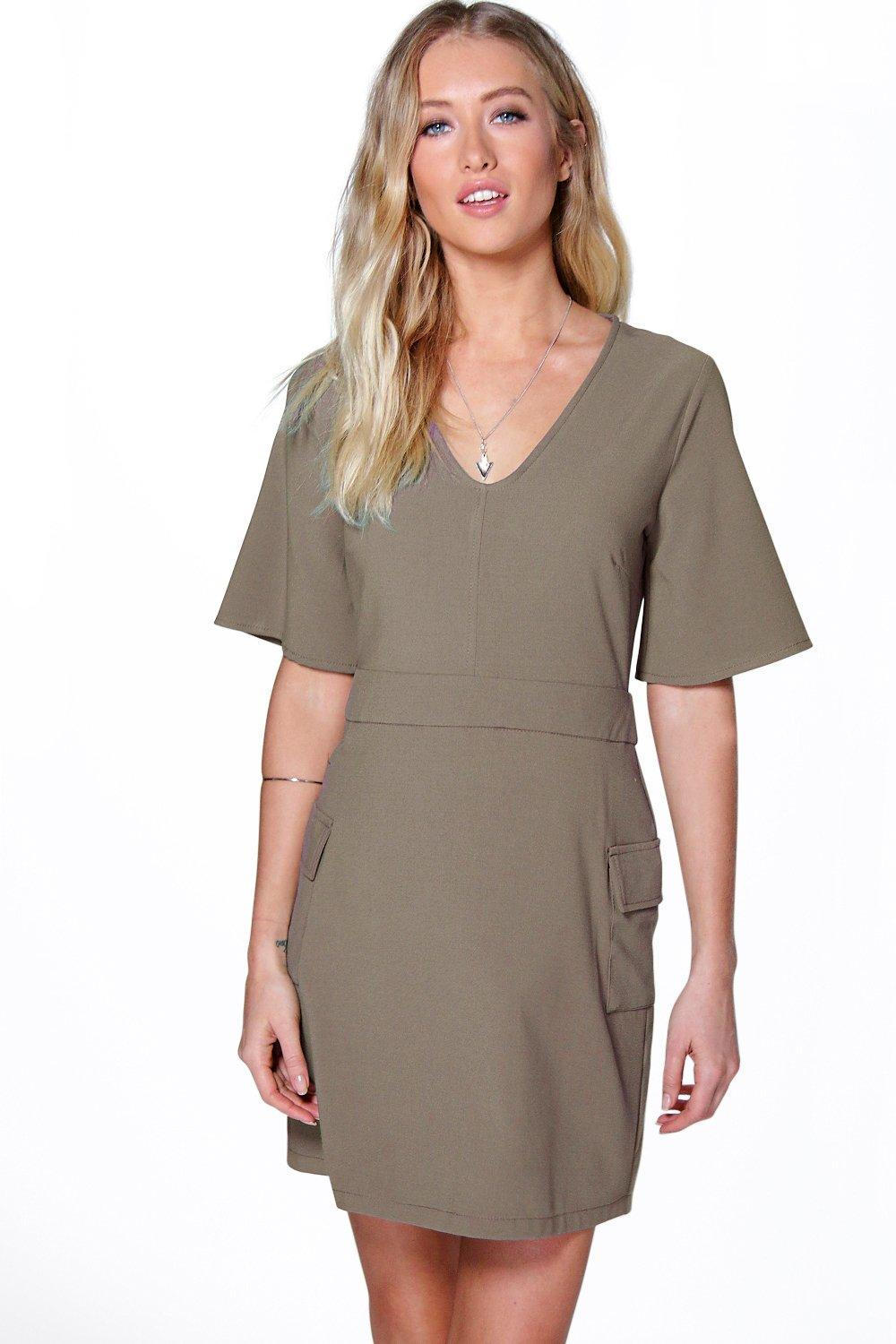 A Line Skater Pocket Dress Khaki - style: a-line; length: mid thigh; neckline: v-neck; sleeve style: angel/waterfall; pattern: plain; predominant colour: taupe; occasions: casual, creative work; fit: soft a-line; fibres: cotton - mix; sleeve length: half sleeve; pattern type: fabric; texture group: jersey - stretchy/drapey; season: s/s 2016; wardrobe: basic