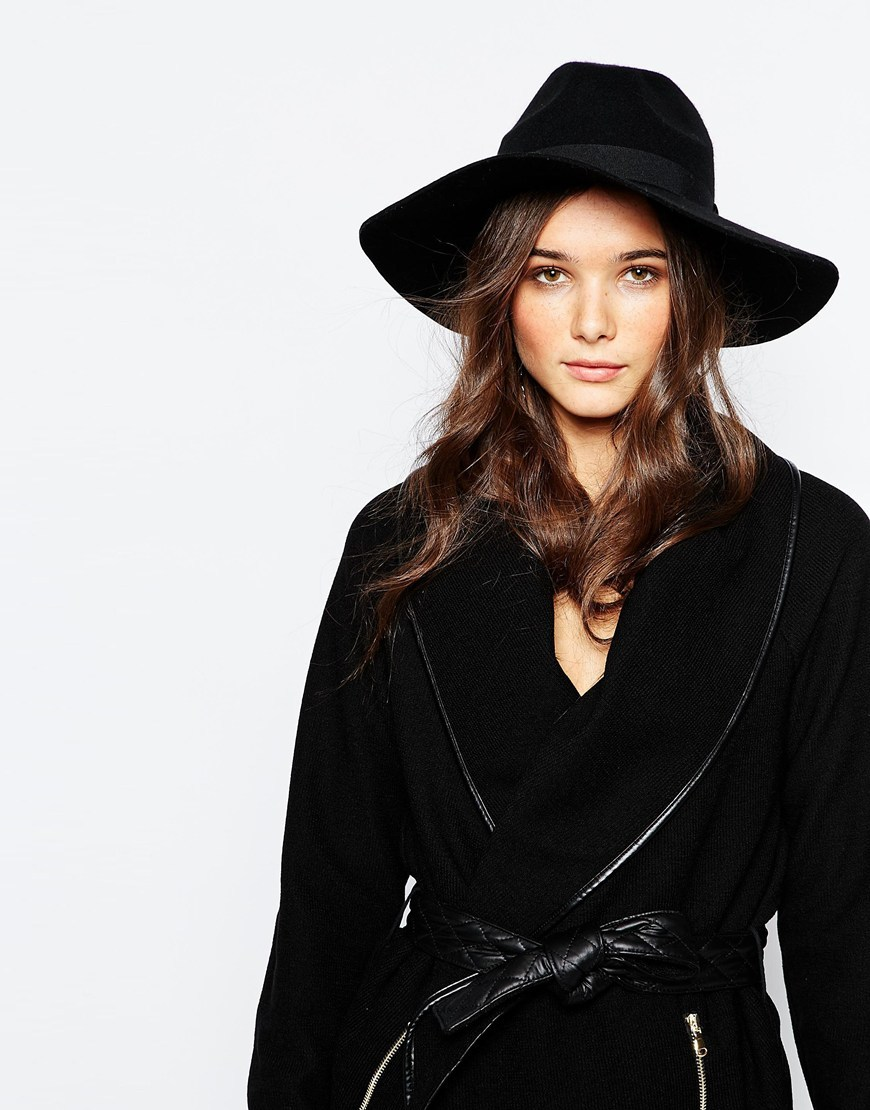 Wide Brim Wool Fedora Black - predominant colour: black; occasions: casual; type of pattern: standard; style: panama; size: standard; material: felt; pattern: knit; season: s/s 2016; wardrobe: basic