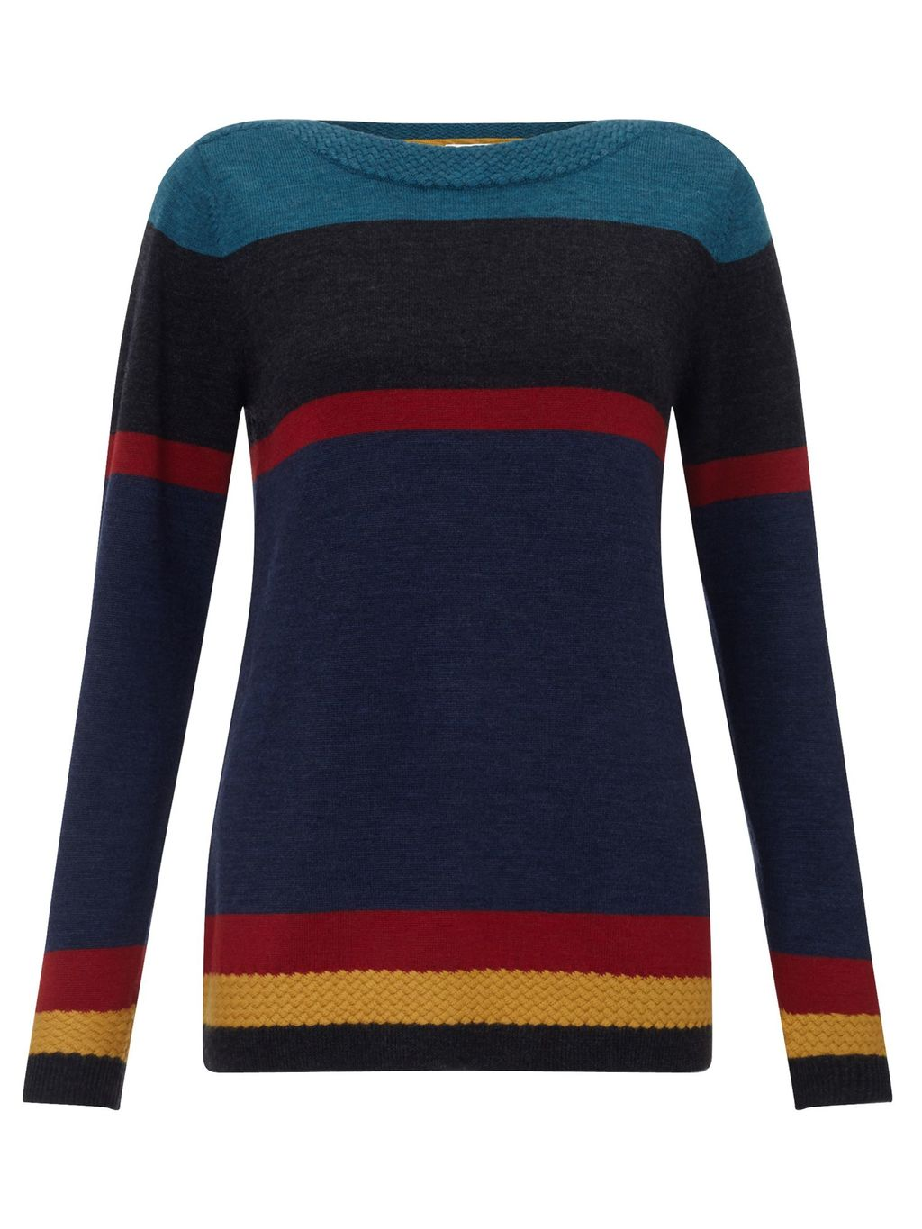 Stripe Merino Jumper, Multi Coloured - pattern: horizontal stripes; style: standard; secondary colour: true red; predominant colour: navy; occasions: casual; length: standard; fibres: wool - 100%; fit: slim fit; neckline: crew; sleeve length: long sleeve; sleeve style: standard; texture group: knits/crochet; pattern type: knitted - fine stitch; multicoloured: multicoloured; season: s/s 2016; wardrobe: highlight