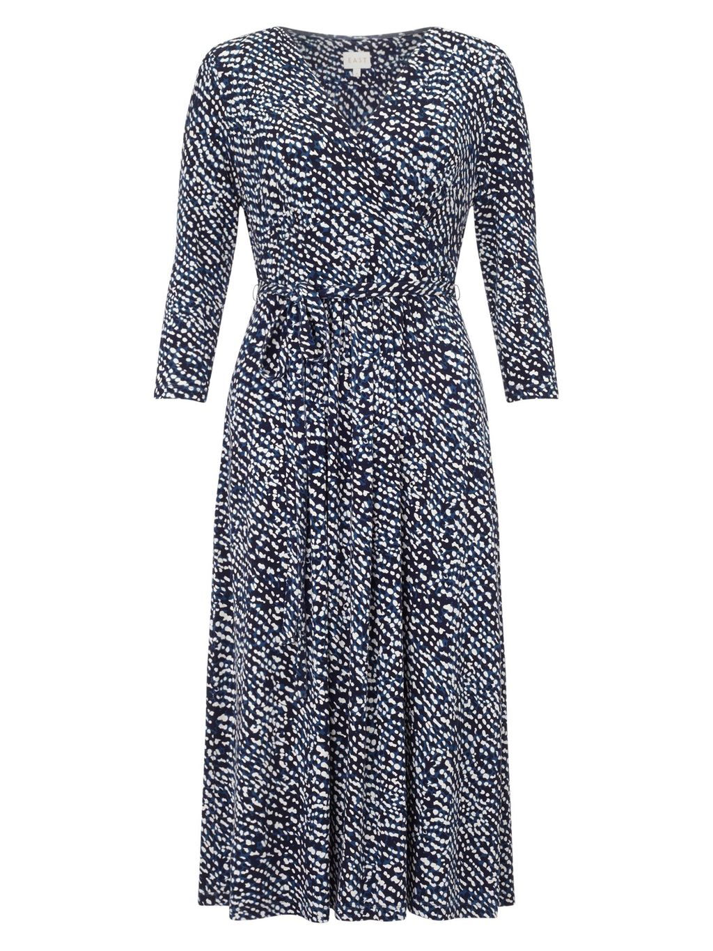 Rina Print Jersey Dress, Ink - style: shift; length: below the knee; neckline: v-neck; fit: fitted at waist; secondary colour: white; predominant colour: royal blue; fibres: viscose/rayon - stretch; hip detail: subtle/flattering hip detail; sleeve length: 3/4 length; sleeve style: standard; pattern type: fabric; pattern size: standard; pattern: patterned/print; texture group: jersey - stretchy/drapey; occasions: creative work; season: s/s 2016; wardrobe: highlight