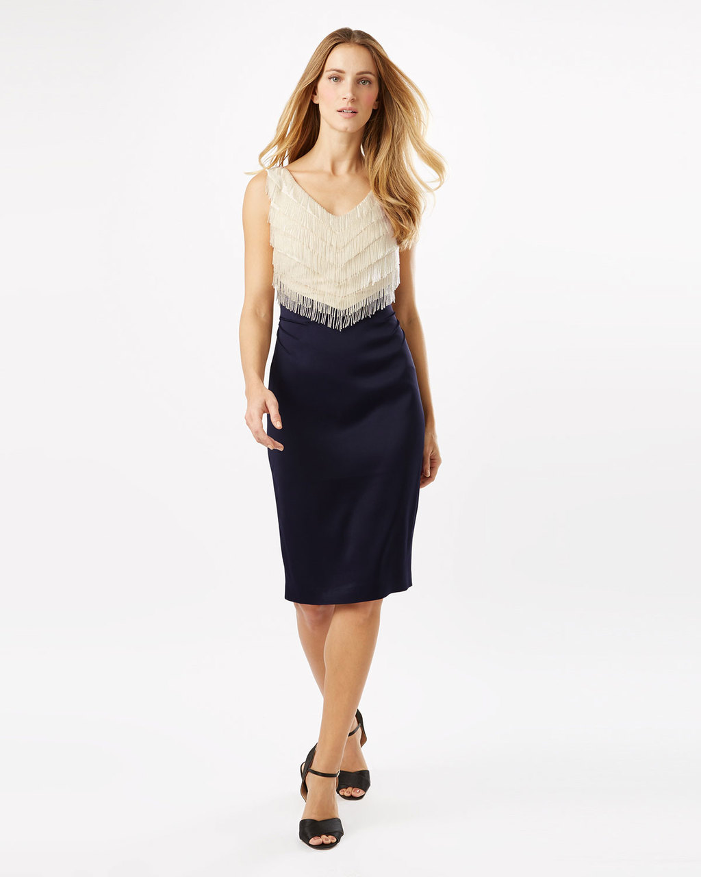 Dress Six - style: shift; neckline: v-neck; fit: tailored/fitted; sleeve style: sleeveless; waist detail: fitted waist; predominant colour: ivory/cream; secondary colour: navy; length: on the knee; fibres: polyester/polyamide - stretch; occasions: occasion; sleeve length: sleeveless; pattern type: fabric; pattern: colourblock; texture group: other - light to midweight; season: s/s 2016; wardrobe: event; embellishment location: bust