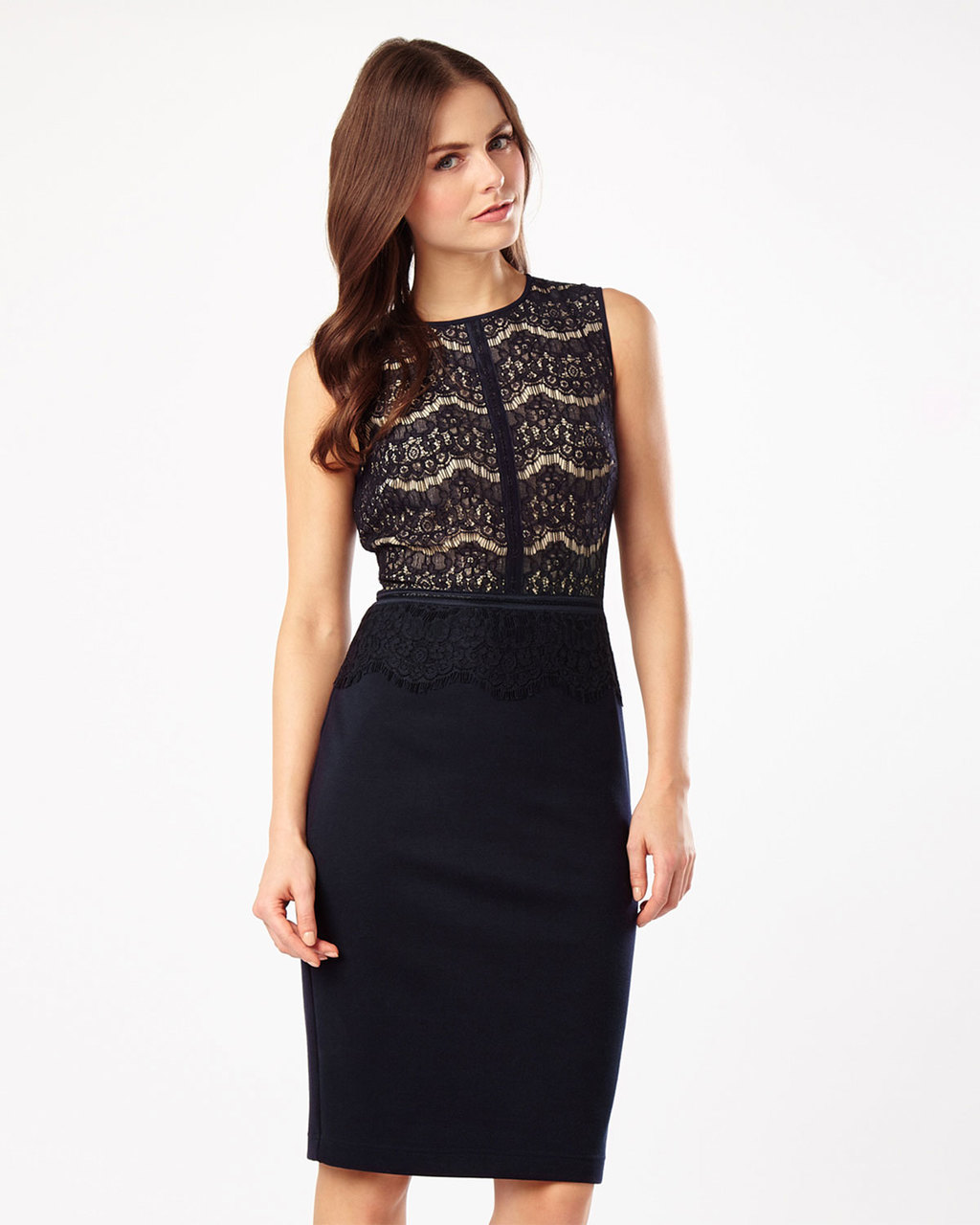 Ivy Lace Dress - style: shift; fit: tight; sleeve style: sleeveless; bust detail: added detail/embellishment at bust; hip detail: fitted at hip; secondary colour: nude; predominant colour: black; occasions: evening; length: on the knee; fibres: polyester/polyamide - stretch; neckline: crew; sleeve length: sleeveless; texture group: lace; pattern type: fabric; pattern: patterned/print; embellishment: lace; season: s/s 2016; wardrobe: event