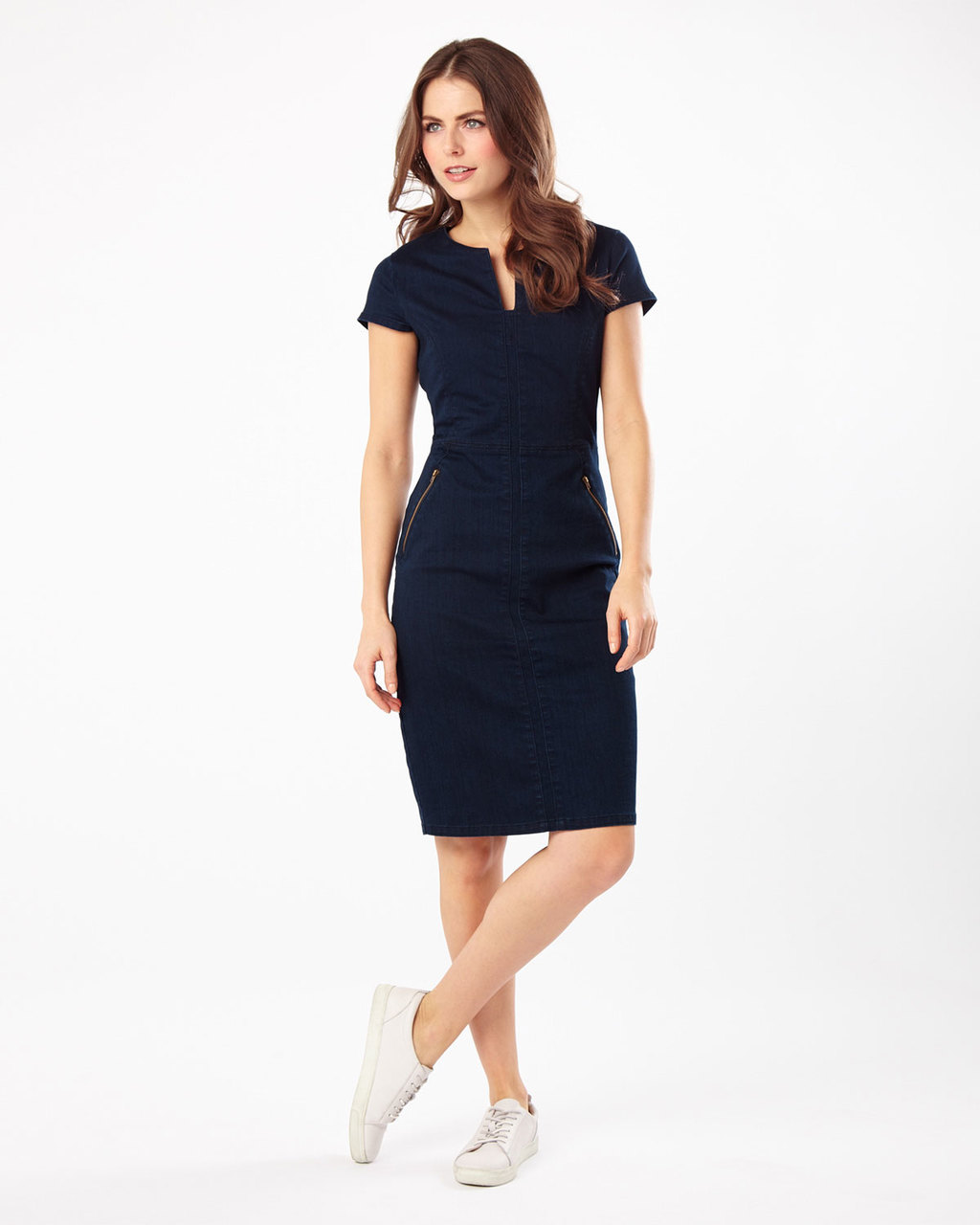 Magda Denim Dress - style: shift; neckline: v-neck; fit: tailored/fitted; pattern: plain; hip detail: fitted at hip; predominant colour: denim; length: just above the knee; fibres: cotton - mix; sleeve length: short sleeve; sleeve style: standard; texture group: denim; pattern type: fabric; occasions: creative work; season: s/s 2016; wardrobe: highlight