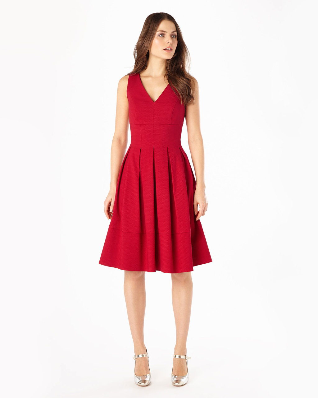 Mary Pintuck Dress - neckline: low v-neck; pattern: plain; sleeve style: sleeveless; style: prom dress; predominant colour: true red; occasions: evening, occasion; length: on the knee; fit: fitted at waist & bust; fibres: polyester/polyamide - 100%; hip detail: structured pleats at hip; sleeve length: sleeveless; texture group: crepes; pattern type: fabric; season: s/s 2016; wardrobe: event