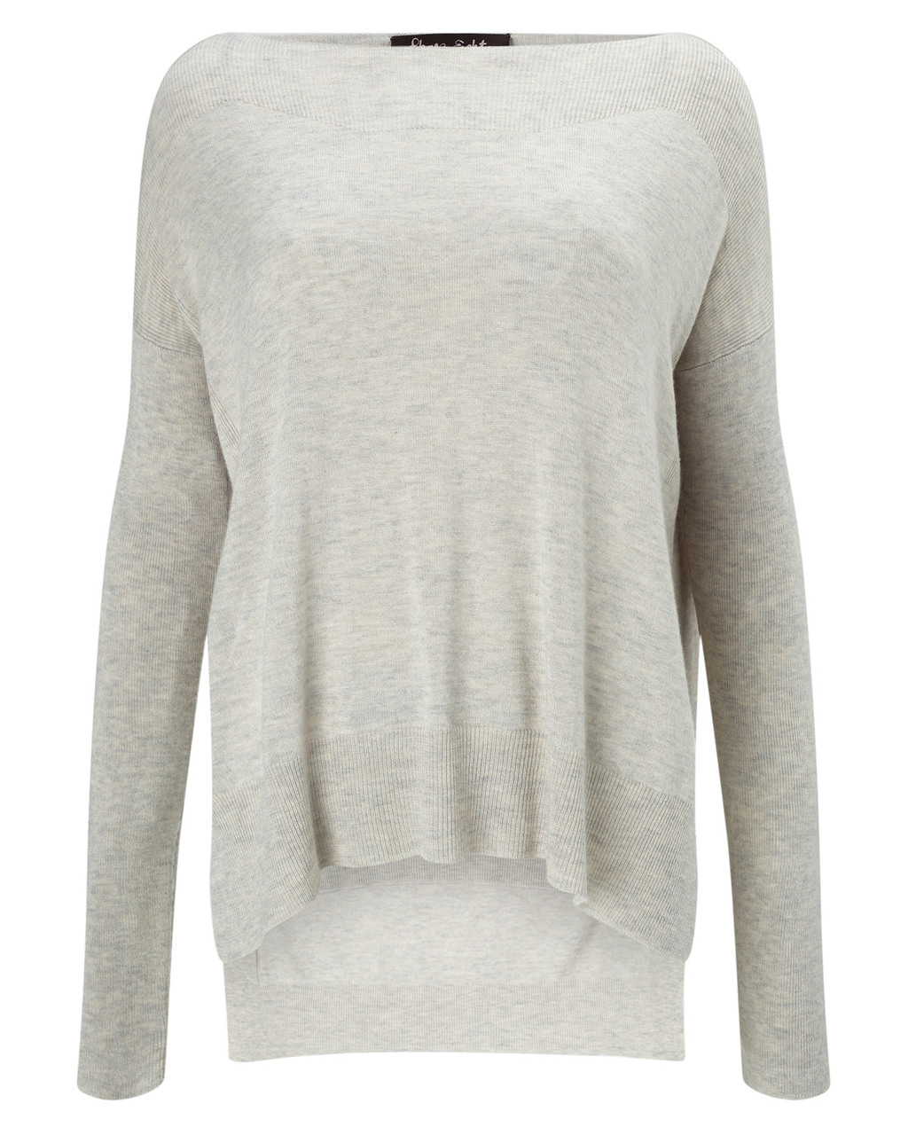 Bria Jumper - neckline: slash/boat neckline; pattern: plain; style: standard; predominant colour: light grey; occasions: casual, creative work; length: standard; fibres: wool - mix; fit: loose; back detail: longer hem at back than at front; sleeve length: long sleeve; sleeve style: standard; texture group: knits/crochet; pattern type: knitted - fine stitch; season: s/s 2016; wardrobe: basic