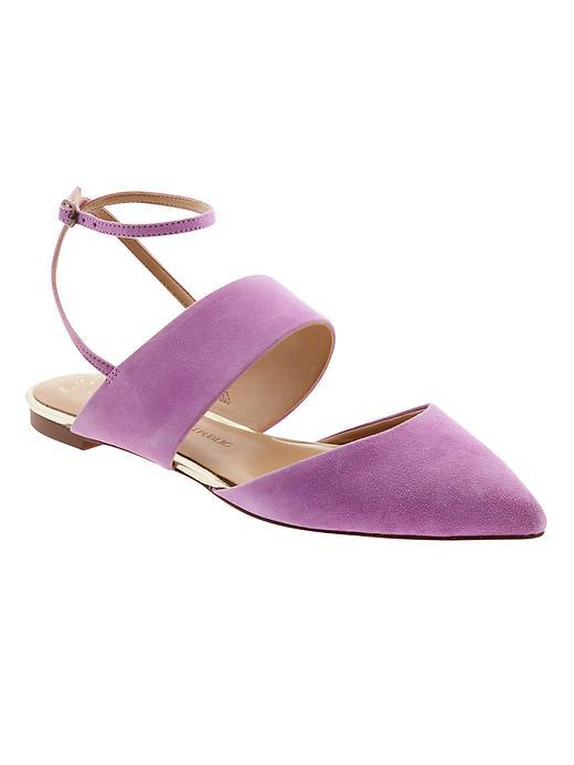 Abilene Ankle Strap Flat Neon Violet - predominant colour: lilac; occasions: casual, creative work; material: suede; heel height: flat; ankle detail: ankle tie; toe: pointed toe; style: ballerinas / pumps; finish: plain; pattern: plain; season: s/s 2016; wardrobe: highlight