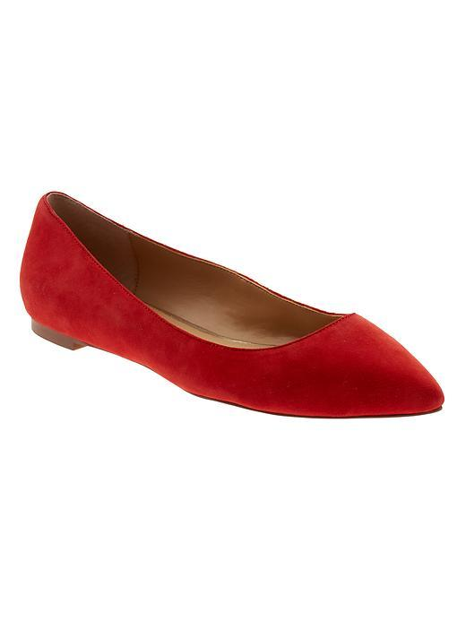 Angela Pointed Toe Flat Red - predominant colour: true red; occasions: casual, creative work; material: suede; heel height: flat; toe: pointed toe; style: ballerinas / pumps; finish: plain; pattern: plain; season: s/s 2016; wardrobe: highlight
