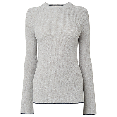 Fluted Sleeve Jumper, Grey Marl - pattern: plain; neckline: high neck; length: below the bottom; style: standard; predominant colour: light grey; secondary colour: black; occasions: casual, creative work; fibres: wool - mix; fit: standard fit; sleeve length: long sleeve; sleeve style: standard; texture group: knits/crochet; pattern type: knitted - fine stitch; season: s/s 2016; wardrobe: basic